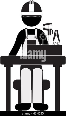 black silhouette engineer sitting with measuring elements vector illustration - Stock Photo