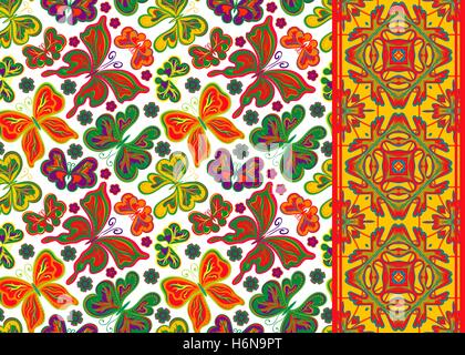 Set of seamless vector floral  pattern, pattern and border (band ribbon ) Can be used for wallpaper, pattern fills, - Stock Photo