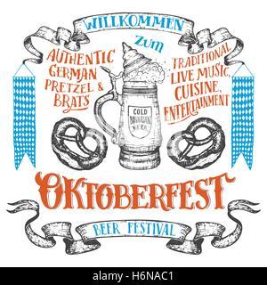 Oktoberfest hand drawn set. Willkommen zum Oktoberfest. Hand lettering set of beer festival. German ceramic beer - Stock Photo