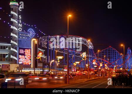 Blackpool Pleasure Beach and promenade during the annual Blackpool Illuminations, Lancashire, England. - Stock Photo