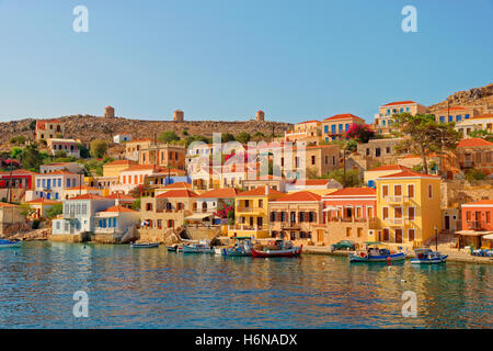 Chalki town on the Greek island of Chalki situated off the north coast of Rhodes in the Dodecanese Island group, - Stock Photo