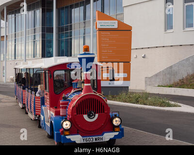 The Land Train outside Leisure World in Bridlington - Stock Photo