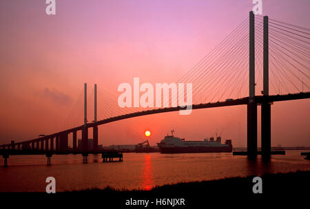 Queen Elizabeth II bridge. Dartford crossing, London, Kent, England, UK. - Stock Photo
