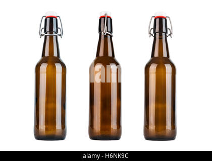 Vintage bottle from three sides isolated on white background - Stock Photo
