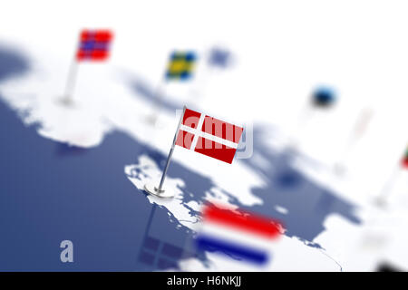 Denmark flag in the focus. Europe map with countries flags. Shallow depth of field 3d illustration rendering isolated - Stock Photo