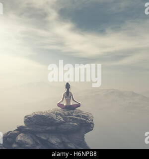 The young woman doing yoga at the top of the mountain. This is a 3d render illustration - Stock Photo