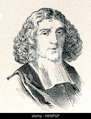 Baruch Spinoza, born Benedito de Espinosa, aka  Benedict de Spinoza, 1632 –1677.  Dutch philosopher of Sephardi/Portuguese - Stock Photo