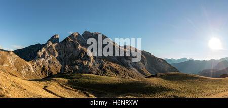 Passo Giau / Giau Pass Panorama with Italian Dolomites near Cortina d'ampezzo, Belluno, Veneto - Italy - Stock Photo