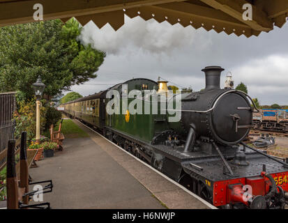 West Somerset Railway at Dunster Station near Minehead, Sumerset, England, UK - Stock Photo