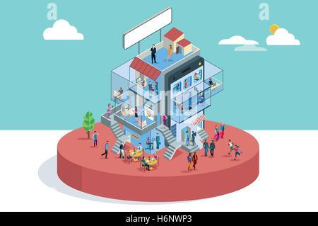 Modern Office Building In Isometric View with businessman and businesswoman working in different departments. Business - Stock Photo
