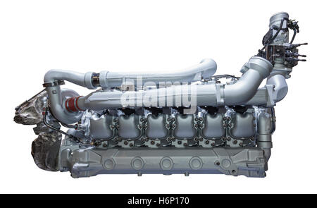 Modern heavy duty truck and bus diesel engine isolated on white background - Stock Photo