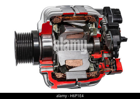 Automotive alternator cross section isolated on white background - Stock Photo