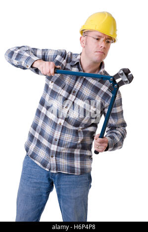 worker with bolt cutters - Stock Photo
