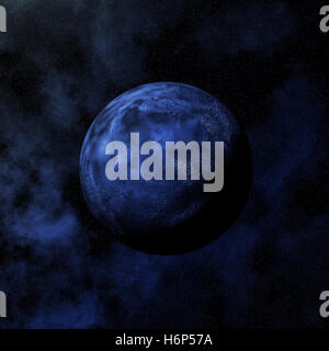 art space night nighttime moon illustration digital solar system globe planet earth world global stars asterisks - Stock Photo