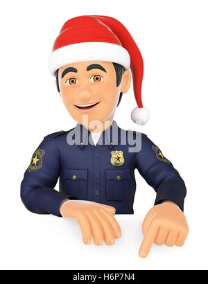 3d christmas people illustration. Policeman pointing down with a Santa Claus hat. Blank space. Isolated white background. - Stock Photo