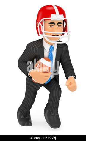 3d business people illustration. Businessman playing American football. Strength concept. Isolated white background. - Stock Photo