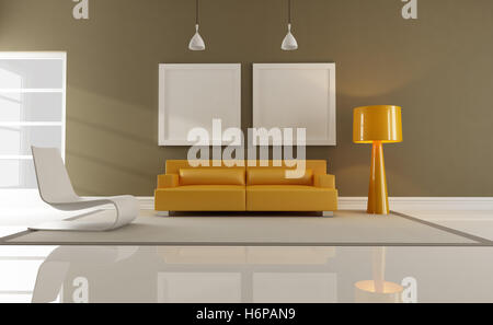furniture interior couch contemporary livingroom living room home armchair furniture modern modernity room brown - Stock Photo