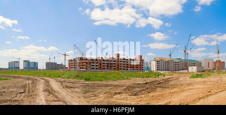 blue house building tower office build buildings big large enormous extreme powerful imposing immense relevant houses - Stock Photo