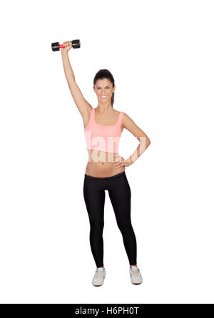 Attractive brunette girl tightening their muscles isolated on a white background - Stock Photo