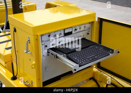 On-board control panel for a mobile, solar powered dot-matrix road sign - Stock Photo