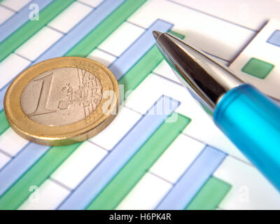 chart euro business dealings deal business transaction business bussiness work job labor profession occupation financial - Stock Photo
