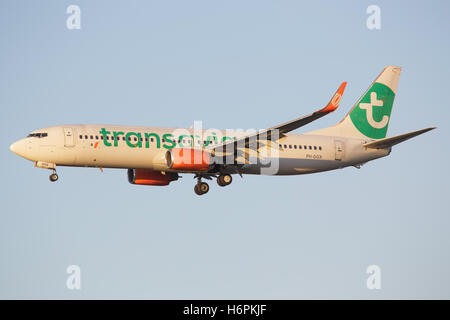 SCHIPHOL, AMSTERDAM, NETHERLANDS - Mai 1, 2016: Boeing 737 from Transavia Airline landing at Schiphol international - Stock Photo