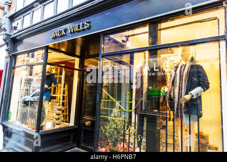 Jack Wills clothes shop clothing store high street shops Nottingham UK GB England sign exterior front facade signs - Stock Photo