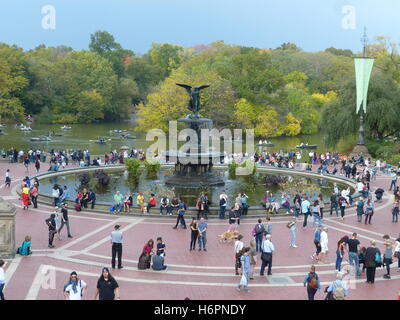 Bethesda Fountain in Central Park NY depicts winged female angel with 4 cherubs representing Temperance, Purity, - Stock Photo