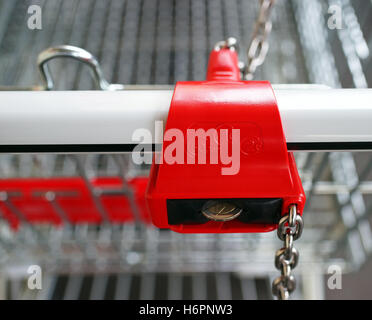 shopping cart detail - supermarket trolley - Stock Photo