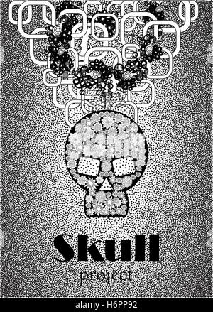 Skull in floral style your concept design. Black n White. Vector illustration. - Stock Photo