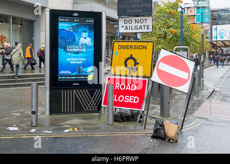 Roadworks signs in Manchester city centre, UK. - Stock Photo