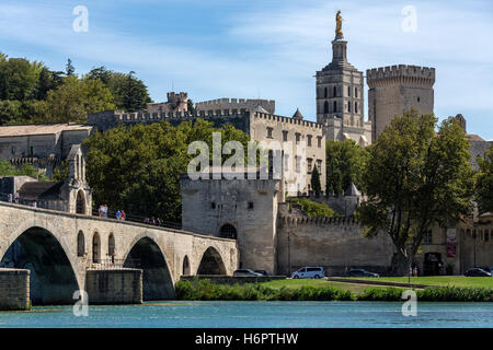 The city of Avignon in the department of Vaucluse on the left bank of the Rhone River. it was the residence of the - Stock Photo