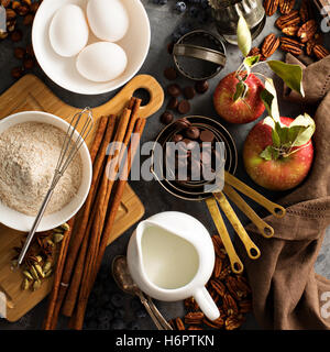 Fall baking concept with apples, oats and flour - Stock Photo