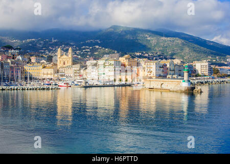 Scene of the old port (the Vieux Port), in Bastia, Corsica, France. - Stock Photo