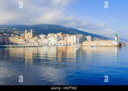 The old port (the Vieux Port), in Bastia, Corsica, France. - Stock Photo