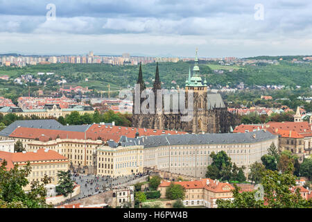 View on Prague Castle and St. Vitus cathedral from Petrin tower, Czech Republic - Stock Photo