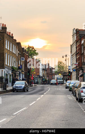 Highgate High Street, London, UK, looking north - Stock Photo