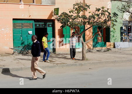MEKELLE-ETHIOPIA-MARCH 29: After a break for lunch the local commerce re-opens its doors for the afternoon commercial - Stock Photo