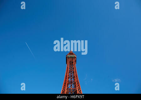 Blackpool tower structure landmark   Holiday sea side town resort Lancashire tourist attractions  tower copyspace - Stock Photo