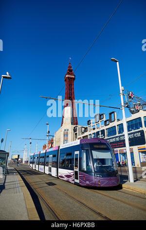 Blackpool ftower modern tram light rail  Holiday sea side town resort Lancashire tourist attractions  tower copyspace - Stock Photo