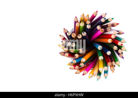 Set of color pencils in office bins on white - Stock Photo