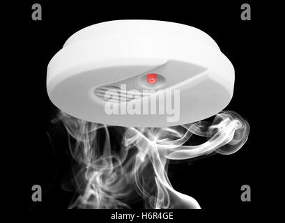 smoke smoking smokes fume house building danger tool object sound isolated closeup modern modernity interior black - Stock Photo