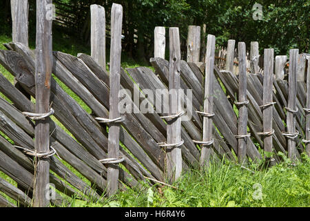 old wooden fence in south tyrol - Stock Photo