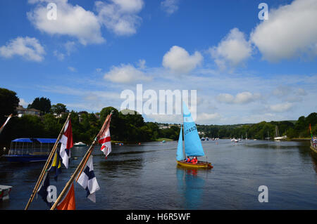 Sailing dinghy on the river Teifi at Cardigan, Ceredigion, Wales - Stock Photo