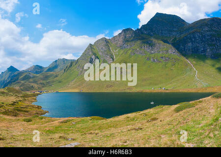 the lago cadagno in wolkenschatten - Stock Photo