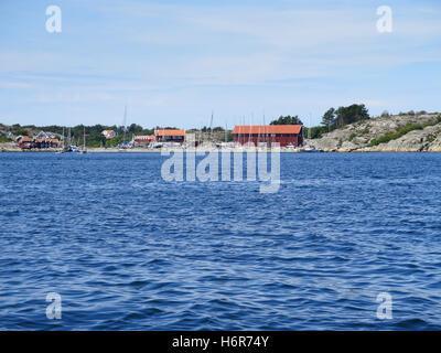 swedish westcoast boat and small house on Orust - Stock Photo