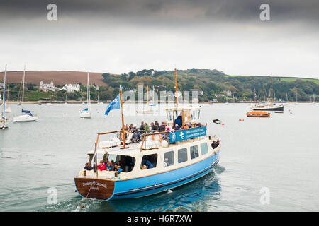 The St Mawes Ferry carries passengers across the Carrick Roads from Falmouth, Cornwall. - Stock Photo