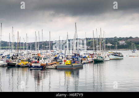 Various sailing craft moored in the Visitors Yacht Haven in Falmouth, Cornwall. - Stock Photo