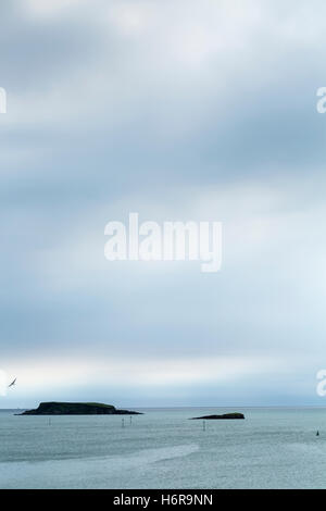 View to the atlantic ocean over Glandore harbour, County Cork, Ireland. - Stock Photo