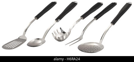 restaurant food aliment tool object isolated household new black swarthy jetblack deep black silver steel metal - Stock Photo